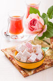 Bowl with diced Turkish delight Stock Photos