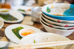 Bowl and dish when after finish eating in restaurant Royalty Free Stock Image