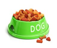 Bowl with dog feed Stock Photos