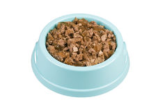 Bowl of dog food. Bowl of dog food isolated on white Stock Photo