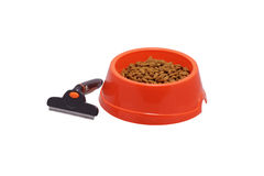 A bowl of dog food and a comb. Royalty Free Stock Photo