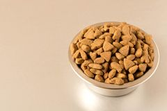 Bowl with dog food on a light background . Close up royalty free stock photos