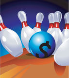 Bowl with Dollar sign. Hitting the pin Royalty Free Stock Photos