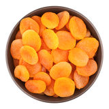 Bowl With Dried Apricots royalty free stock photos
