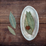 The Bowl of dried bay leaves . Stock Photography