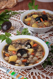 Bowl of dried boletus soup with pasta Stock Photos