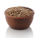 Bowl of dried brown lentils Royalty Free Stock Photography