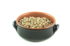 Bowl of dried chickpeas Stock Photography