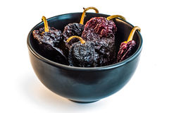 Bowl of Dried Chili (Chile) Passilla Ancho. Collection of dried chili pods Stock Photography