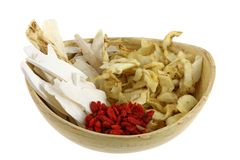 A bowl of Dried Chinese herb, to make soup Stock Image