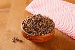 Bowl of dried cloves royalty free stock photos