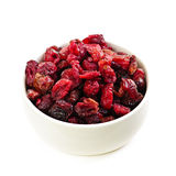 Bowl of dried cranberries Royalty Free Stock Photography
