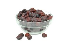 A bowl of dried cranberries Stock Image