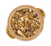 Bowl of dried dandelion root Royalty Free Stock Photography