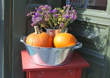Bowl with dried flowers and orange pumpkins in autumn Stock Images