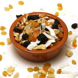 Bowl of dried fruit and nuts Royalty Free Stock Images