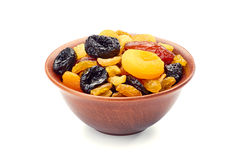 Bowl of dried fruits mix on white Royalty Free Stock Photo