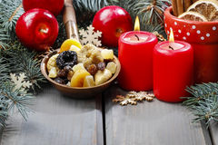Bowl of dried fruits on wooden table Stock Photography