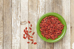 Bowl of dried goji berries Stock Images