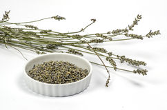 Bowl with dried lavender Royalty Free Stock Images