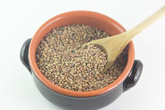 Bowl of Dried Lentils and Wooden Spoon Stock Image