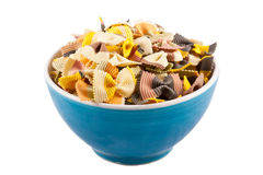 Bowl of Dried Pasta Bows. A bowl of delicious looking colourful dried pasta bows Royalty Free Stock Photography