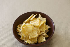 Bowl of Dried Pineapple for snack-bite Stock Photography