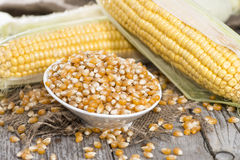 Bowl with dried Sweetcorn Stock Photo