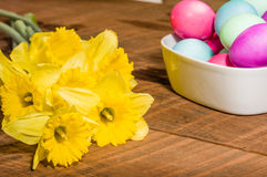 Bowl of dyed Easter eggs with daffodils Stock Image
