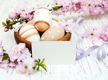Bowl with easter eggs Stock Images
