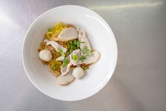 A bowl of egg noodle with variety of fish balls and pork in Thai. Style on stainless steel table. Very delicious local food with sprinkle fresh spring onion royalty free stock images