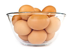 Bowl of eggs over white Royalty Free Stock Photography