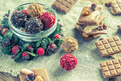 Bowl of exclusive truffles Royalty Free Stock Photos