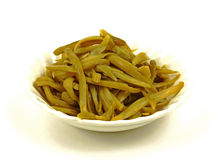 Bowl fancy green beans. View of a bowl of canned fancy french style green beans Royalty Free Stock Images