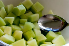Bowl of fesh cut breakfast honeydew melon Royalty Free Stock Photography