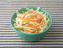 Bowl filled with coleslaw on a tablecloth. Royalty Free Stock Images