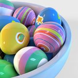 Bowl filled with easter eggs Royalty Free Stock Images