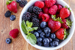 Bowl Filled with Fresh Organic Berries Stock Image