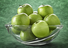 Bowl filled with green apples Royalty Free Stock Photo