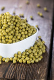 Bowl filled with Peas Stock Photography