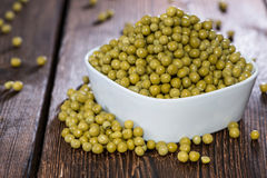 Bowl filled with Peas Stock Photo