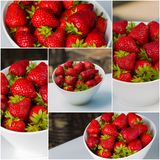 Bowl filled with succulent juicy fresh ripe red strawberries Stock Photography