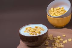 Bowl with flakes in homemade greek yogurt. Healthy food. Breakfast royalty free stock photos