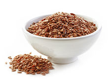 Bowl of flax seeds Stock Image