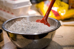 Bowl of flour for baking Royalty Free Stock Image