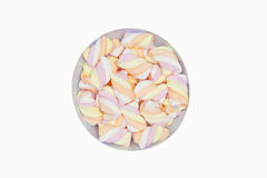 Bowl of fluffy sweet sugary marshmallows of different colours in Stock Photo
