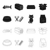 A bowl with food, a haircut for a cat, a sick cat, a package of feeds. at set collection icons in black,outline style. Vector symbol stock illustration Stock Photography