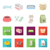 A bowl with food, a haircut for a cat, a sick cat, a package of feeds. at set collection icons in cartoon,flat style. Vector symbol stock illustration Stock Photo