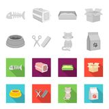 A bowl with food, a haircut for a cat, a sick cat, a package of feeds. at set collection icons in monochrome,flat style. Vector symbol stock illustration Stock Image