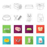 A bowl with food, a haircut for a cat, a sick cat, a package of feeds. at set collection icons in outline,flet style. Vector symbol stock illustration Royalty Free Stock Image